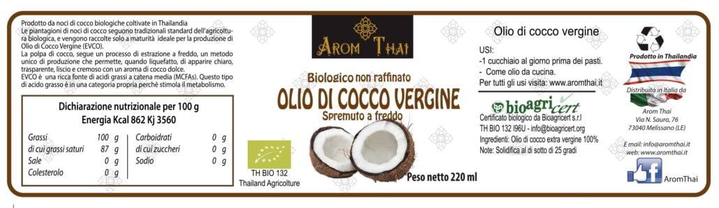 Olio di cocco vergine biologico